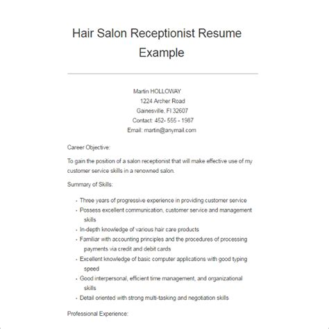 Resume For Receptionist In Hair Salon Resume Exle Templates Free Word Pdf Excel Formats Creative Template