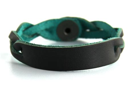 personalized leather bracelet black with blue leather