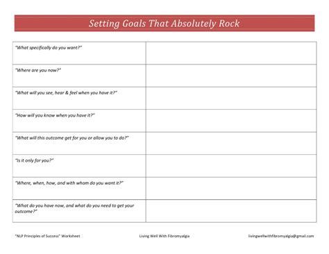Nlp Goal Setting Template Nlp Principles Of Success Fibromyalgia Worksheet
