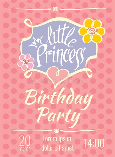 princess birthday card template princess birthday vector poster or invitation