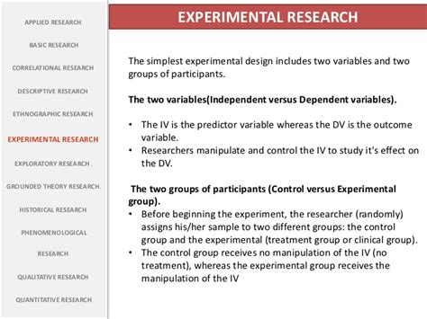 questionnaire experimental design types of research