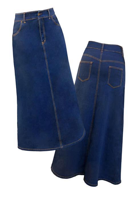 classic maxi a line denim skirt for