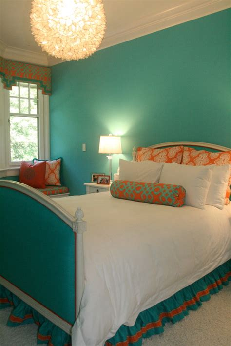 turquoise and orange bedroom could you tell me where you purchased the turquoise and
