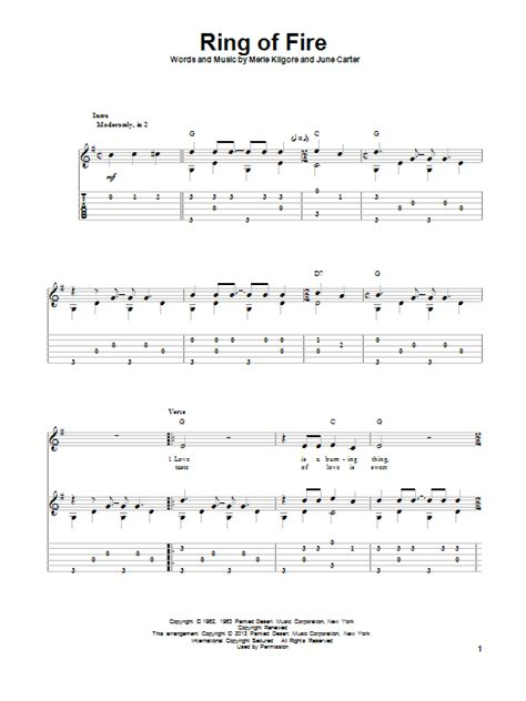 ukulele tutorial ring of fire ring of fire guitar tab by johnny cash guitar tab 96652