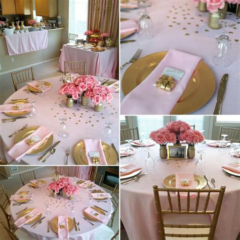 rose themed breakfast pink gold bridal shower shop party boutique