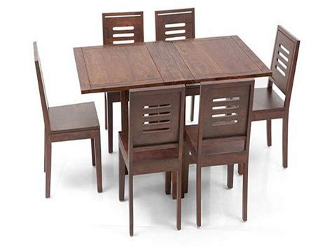 danton folding wooden dining set with table and six chairs