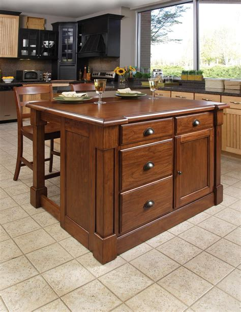 home styles aspen kitchen island two stools