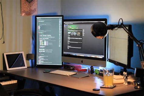 dual monitor office desk dual monitors home office ideas la office journal