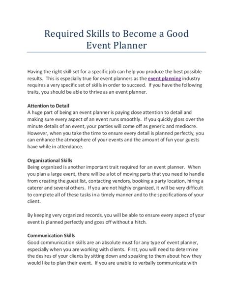 best strategies to become a event planner