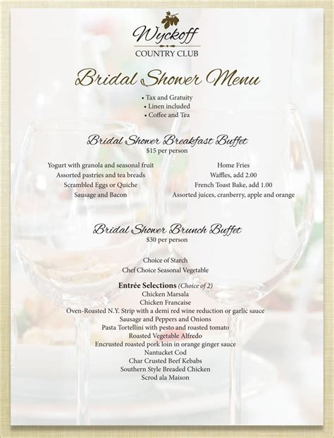 bridal shower menu template bridal shower menus bridal shower menu 7 baby shower