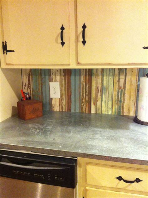 kitchen backsplash sheets new kit hen backsplash with aged sheet metal countertops i m loving my kitchen my re