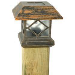 solar powered post light moonrays solar powered post cap light brushed copper at
