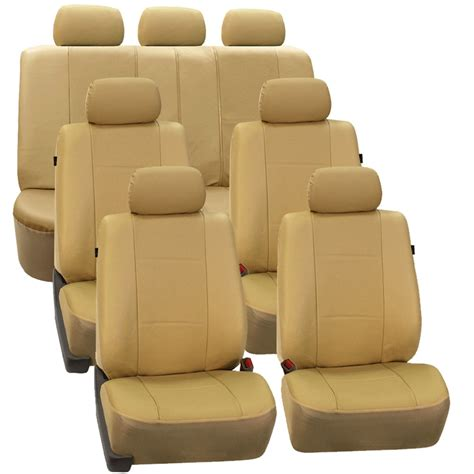 3 Seat Covers by 3 Row Faux Leather Car Seat Covers Airbag Safety For