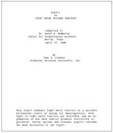 Report Writing Title Page by Technical Writing Report Format And Production