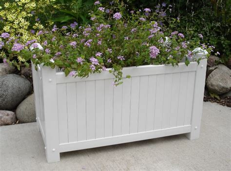 Large Planter Boxes by New Dura Trel Large White Lattice Garden Planter Box For