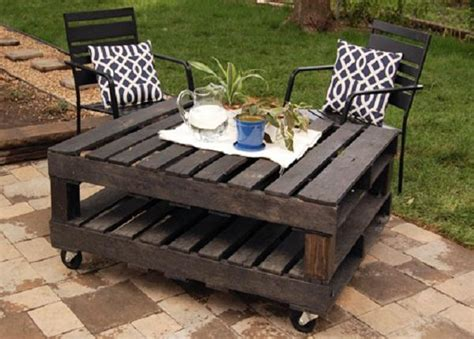 rolling outdoor table from pallet furniture ideas stroovi