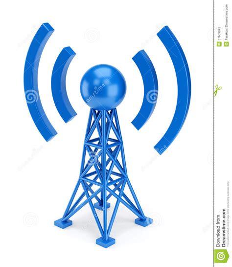 blue antenna icon stock  image
