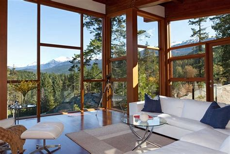 sweeping mountain lake views modern chalet architecture