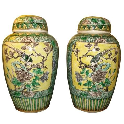 Pair 2 Large Antique Style Koi Lidded Jar Vase Blue White New What S It Worth Pair Of 19th Century Bisque Jars With Lids For Sale At 1stdibs