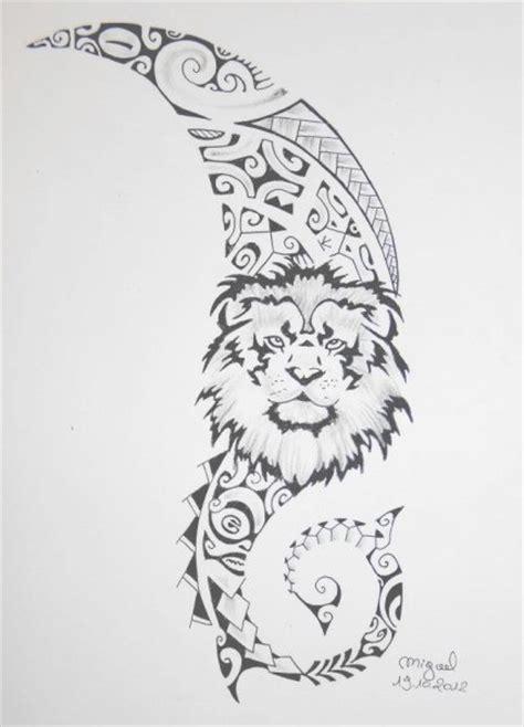 dessin tete lion sur fond maori polynesien