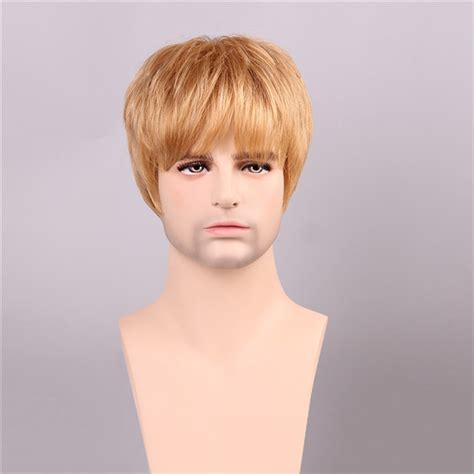 short ginger male wig men human hair wigs golden brown with blonde short mono