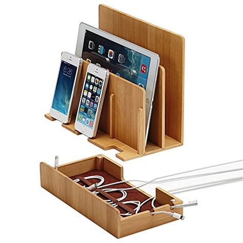 The G U S Bamboo Multi Device Charging Station And Dock With | the original g u s 100 bamboo wood multi device charging