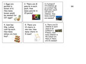 y3 4 word problems for division and multiplication by