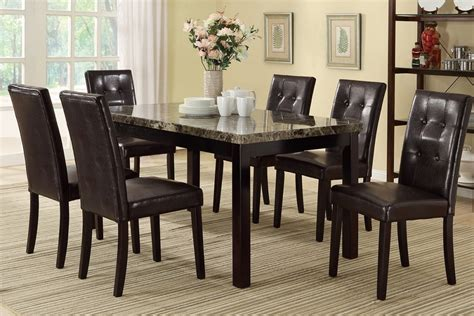 7pc caldwell marble top 6 chairs dining table set