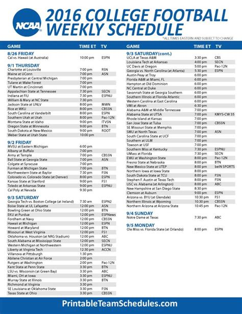 printable schedule college football 1000 ideas about college football tv schedule on