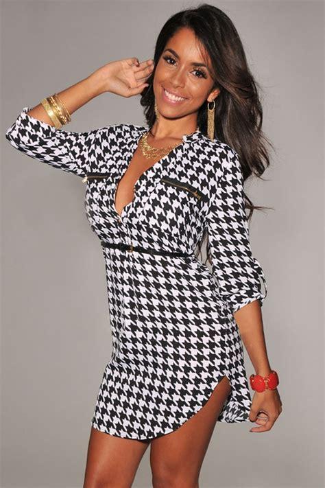shirt dress with belt white black button v