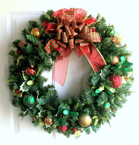 christmas wreath gold red and green christmas wreath