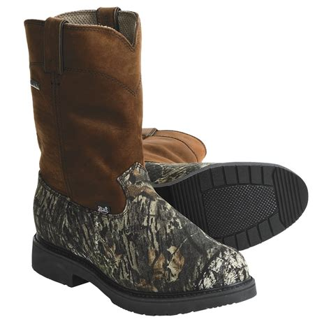 justin tex boots mossy oak camo size 7 5 ee pull on
