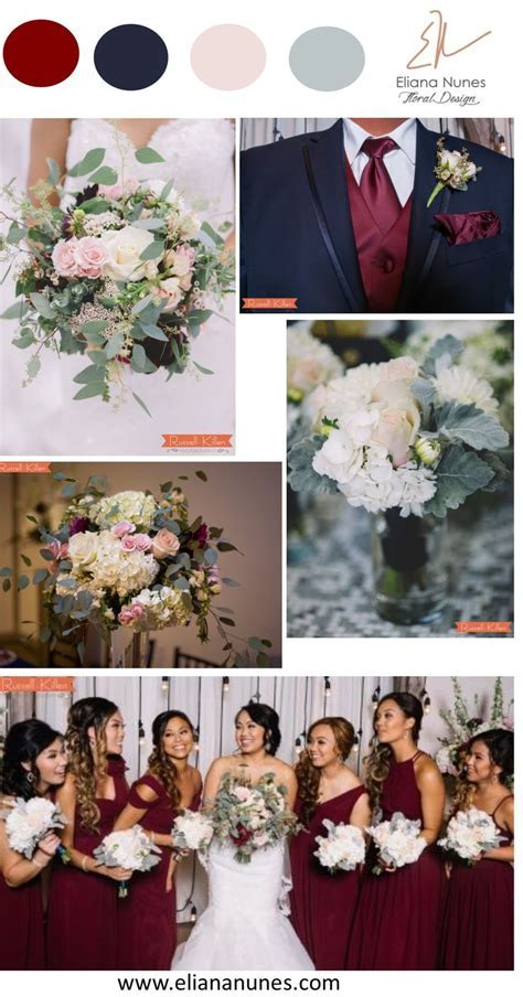 Burgundy, navy, blush and gray wedding colors inspiration
