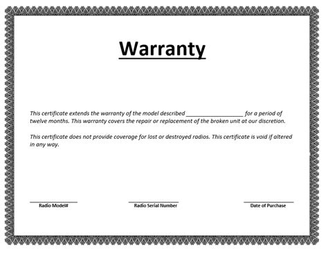 Guarantee Letter For Vehicle warranty certificate template microsoft word templates