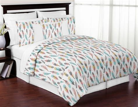 feather print bedding feather 3pc girl full queen bedding set by sweet jojo