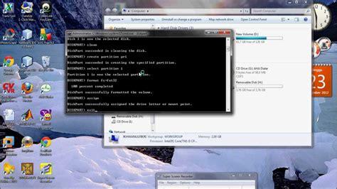 format flashdisk lewat command promt format flashdisk menggunakan command promt diskpart youtube
