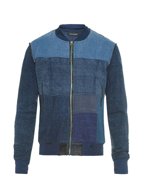 Patchwork Denim Jacket - longjourney patchwork denim bomber jacket in blue for