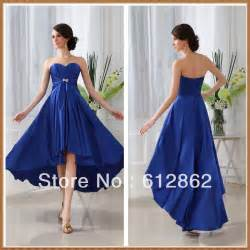 strapless sweetheart front short long back royal blue