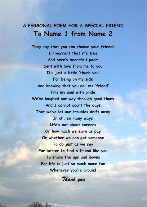 poems for personalised poem for a special friend birthday or