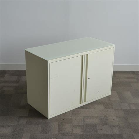 white desk high cupboard with glass top