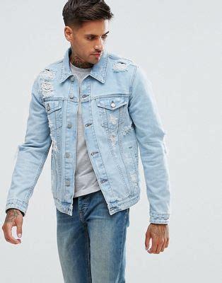Jaket Way Blue Light asos asos denim jacket with rips in light wash