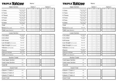 printable triple yahtzee score sheets pdf printable triple yahtzee score pads pictures to pin on
