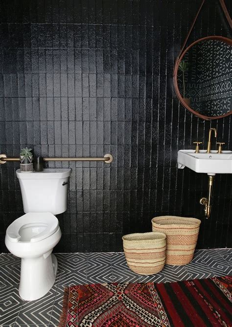 black tile bathroom ideas best 25 black bathrooms ideas on pinterest concrete