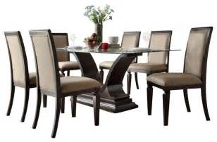 Glass Dining Room Furniture Sets Homelegance Plano 7 Glass Dining Room Set With U Shaped Base Traditional Dining Sets