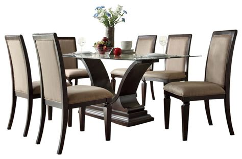 7 Piece Glass Dining Room Set | homelegance plano 7 piece glass dining room set with u