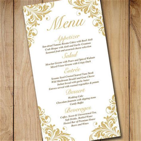 Formal Menu Card Template by Gold Wedding Menu Card Template Wedding From