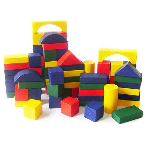 Wooden Bricks childrens 75pc wooden building blocks coloured