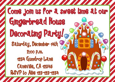 printable gingerbread house invitations gingerbread house decorating party invitation print your own