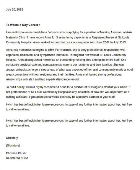 Reference Letter Nursing Assistant reference letter template to use to write a