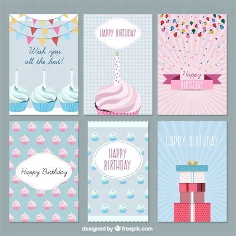card sets flat birthday cards set vector free
